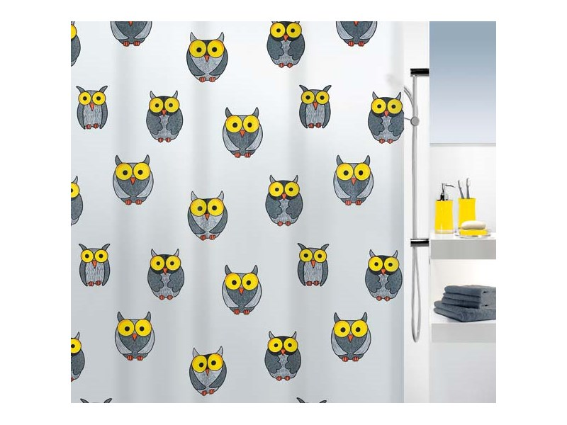 spirella duschvorhang owl grey plastik 180 x 200 cm grau. Black Bedroom Furniture Sets. Home Design Ideas