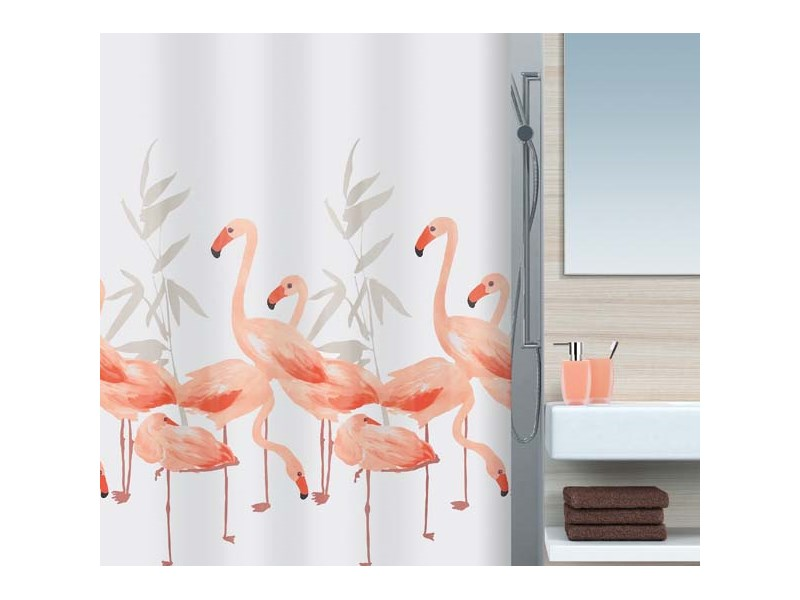 spirella duschvorhang flamingo salmon textil 180 x 200 cm flamingo badezimmer. Black Bedroom Furniture Sets. Home Design Ideas